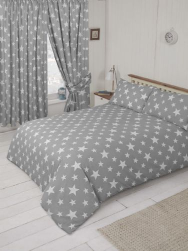 GREY & WHITE CHILDREN'S KIDS TEENAGER TRENDY STARS DESIGN DUVET COVER OR CURTAINS